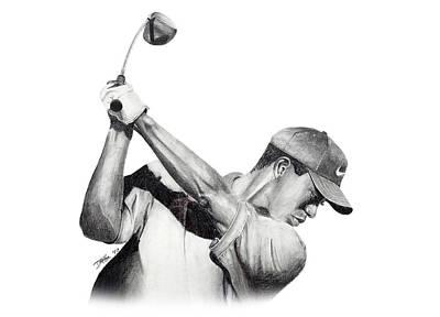Drawing - Tiger Woods Back by Devin Millington
