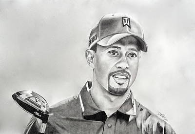 Drawing - Tiger Woods Drive by Devin Millington