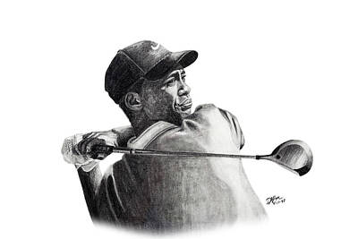 Drawing - Tiger Woods Follow by Devin Millington