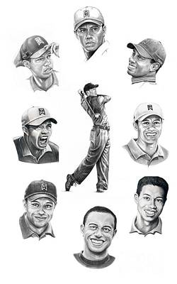 Collages Drawing - Tiger Woods-murphy Elliott by Murphy Elliott