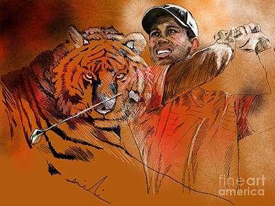 Sports Paintings - Tiger Woods or Earn Your Stripes by Miki De Goodaboom