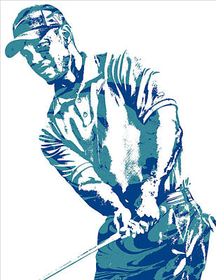 Mixed Media - Tiger Woods Pga Golf Pro Pixel Art 1 by Joe Hamilton