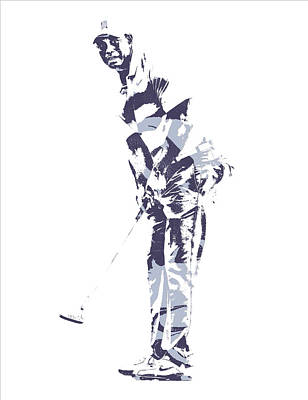 Mixed Media - Tiger Woods Pga Golf Pro Pixel Art 2 by Joe Hamilton