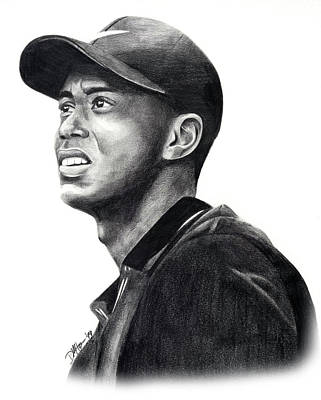 Drawing - Tiger Woods Profile by Devin Millington