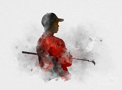 Watercolour Mixed Media - Tiger Woods by Rebecca Jenkins