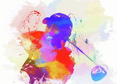 Tiger Woods Watercolor Art Print by Dan Sproul