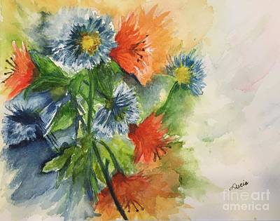 Painting - Tigerlilies And Cornflowers by Lucia Grilletto