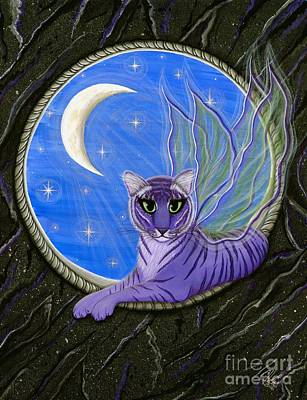 Art Print featuring the painting Tigerpixie Purple Tiger Fairy by Carrie Hawks