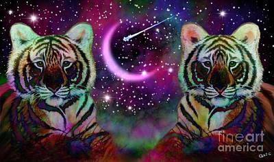 Tigers And Crescent Moon Art Print by Nick Gustafson