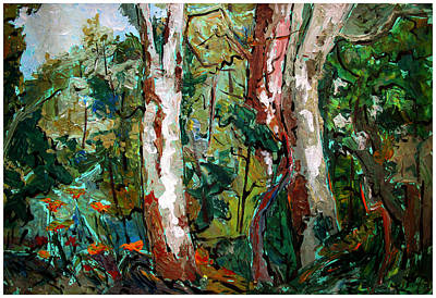 Sycamore Painting - Tigers And Lines  by Charlie Spear