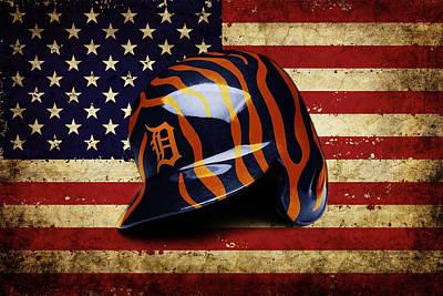 Baseball Portraits Mixed Media - Tigers Batting Helmet by Dan Haraga