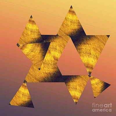 Mixed Media - Tigers Eye Triangles  by Rachel Hannah