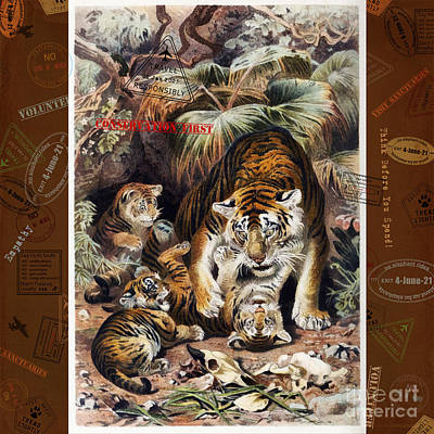Digital Art - Tigers For Responsible Tourism by Nola Lee Kelsey