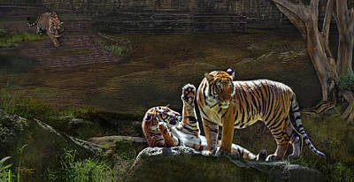 Digital Art - Tigers In The Night by Thanh Thuy Nguyen