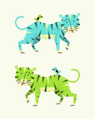 Tiger Digital Art - Tigers by Jazzberry Blue
