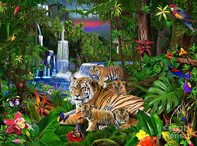 Parrot Digital Art - Tigers Of The Forest by Gerald Newton