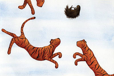 Tigers On A Trampoline Art Print by Christy Beckwith