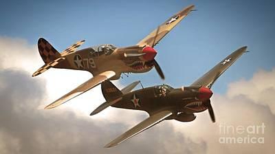 Tigers On The Prowl P-40 Warhawks Art Print