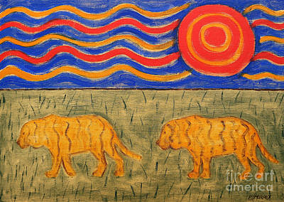 Abstract Wildlife Painting - Tigers by Patrick J Murphy