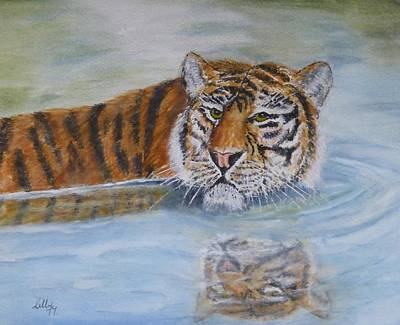 Tigers Painting - Tigers Reflection by Kelly Mills