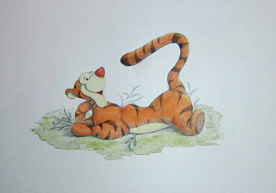 Mixed Media - Tigger In The Grass by Steven Powers SMP