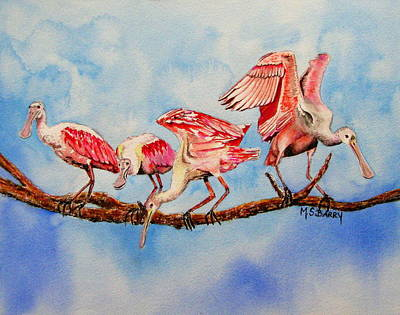 Spoonbill Painting - Tight Rope by Maria Barry