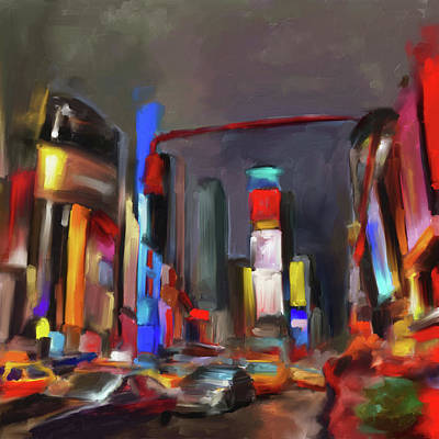 Michigan Theatre Painting - Tiimes Square 561 1 by Mawra Tahreem