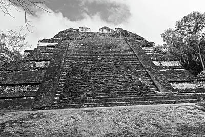 Photograph - Tikal Mayan Ruins Mayan Temple Black And White 2 by Toby McGuire