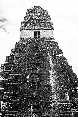 Photograph - Tikal Mayan Ruins Mayan Temple Black And White by Toby McGuire