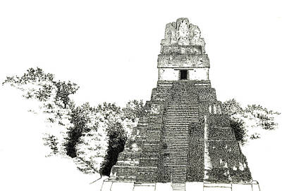 Drawing - Tikal Temple I by Marcus England