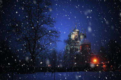 Tikhvin Church. Snowy Days In Moscow Art Print by Jenny Rainbow