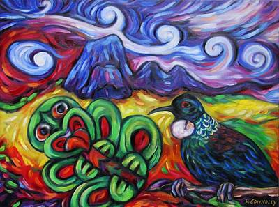Painting - Tiki And Tui Under Mount Taratara by Dianne  Connolly