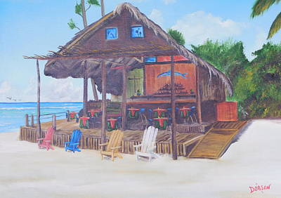 Painting - Tiki Bar Restaurant - Negril Jamaica by Lloyd Dobson