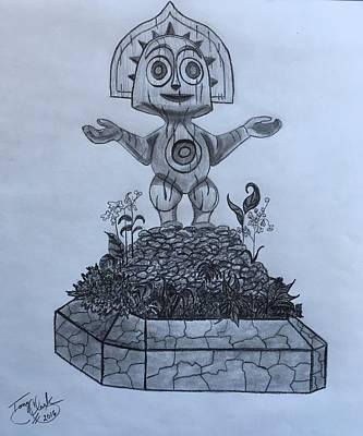 Fertility Drawing - Tiki God by Tony Clark