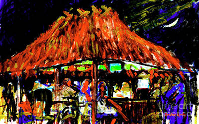 Painting - Tiki Hut With Moon by Candace Lovely
