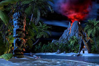 Volcano Digital Art - Tiki Jungle by Alex George