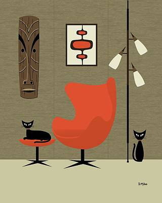 Eames Chair Wall Art - Digital Art - Tiki On The Wall by Donna Mibus