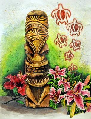 Still Life Drawings - Tiki Still life 2 by Scott Parker