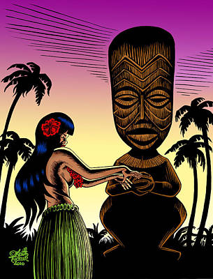 Polynesian Pop Drawing - Tiki Sunset by Keith Tucker