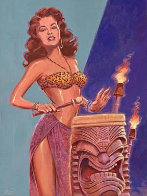 Torch Painting - Tiki Tarts-jungle Drum Beats by Shawn Shea