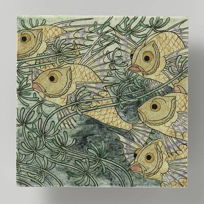 Fish In Art Painting - Tile, Belonging To Tableau Painted With Fish In Whose Bert Nienhuis I, C. 1896 - C. 1901 by Celestial Images