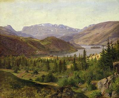 Norwegian Painting - Tile Fjord by Louis Gurlitt