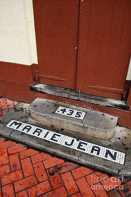 Tile Inlay Steps Marie Jean 435 Wooden Door French Quarter New Orleans Art Print by Shawn O'Brien