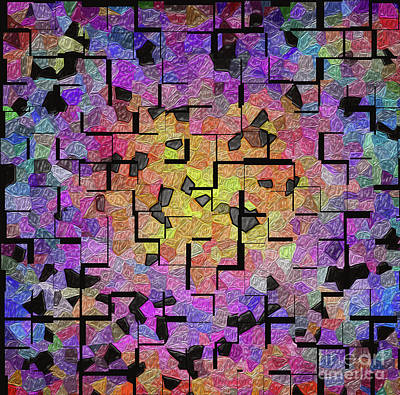 Tiled  Colourful Mosaic  Art Print by Victoria Schaal