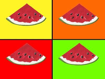 Watermelon Mixed Media - Tiled Watermelon by Kathleen Sartoris