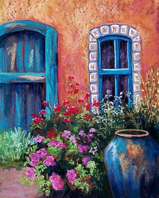 Geraniums Pastel - Tiled Window by Candy Mayer