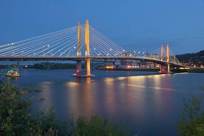 Tilikum Crossing Bridge Night Scene Portland Oregon. Original by Gino Rigucci