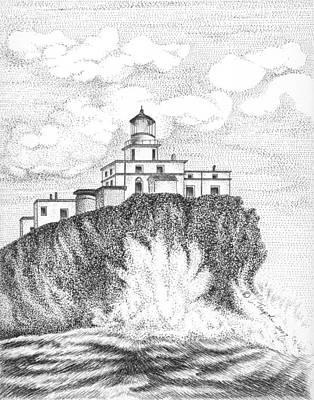 Drawing - Tillamook Rock Lighthouse by Lawrence Tripoli