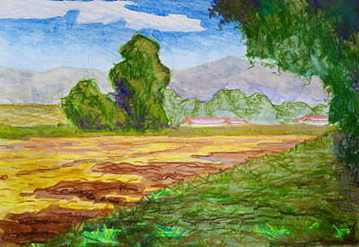 Bethany Lee Painting - Tilled Field Farmscape by Bethany Lee