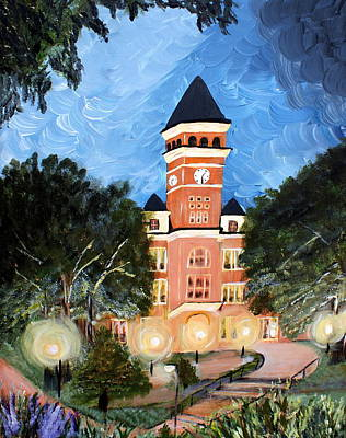 Clemson Wall Art - Painting - Tillman By Night by Ashley Galloway